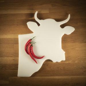 Leikkuulauta härän pää valkoinen